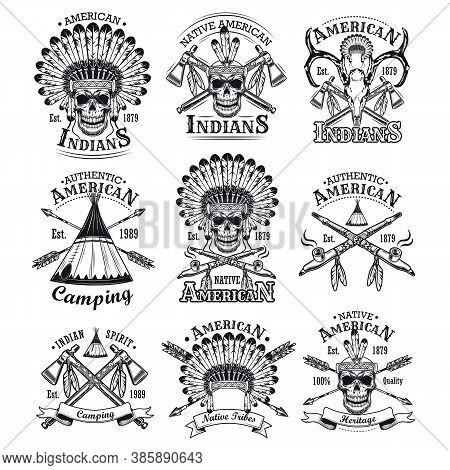 Native Americans Emblems Set. Red Indians Skulls With Feather Head Dress, Wigwams And Crossed Axes.