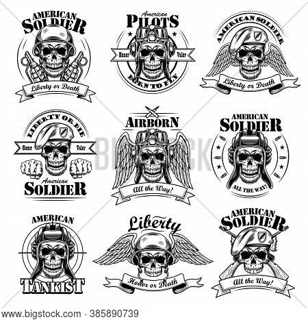Army Emblems Set. Military Labels Template With Skulls In Pilot Helmets Or Soldier Hats, Air Force E