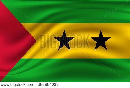 Flag Of Sao Tome And Principe. Realistic Waving Flag Of Sao Tome And Principe. Fabric Textured Flowi