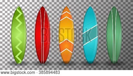 Surfing Board, Realistic Surfboard Vector With Several Shapes And Colors On A Transparent Background