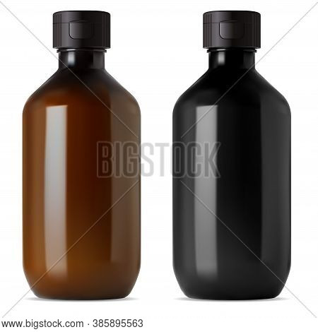 Brown And Black Glass Medical Bottle. E Liquid Or Essential Oil Vial Mockup. 3d Flask For Medical Sy