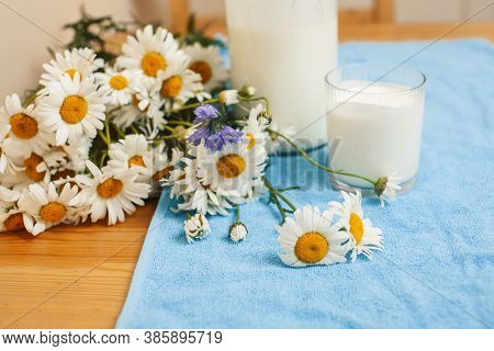 Simply Stylish Wooden Kitchen With Bottle Of Milk And Glass On Table, Summer Flowers Camomile, Healt
