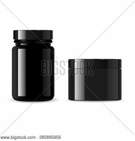 Black Cosmetic Bottle Set. Cream Jar Vector Mockup. Glossy Glass Container For Powder Or Wax. Sport