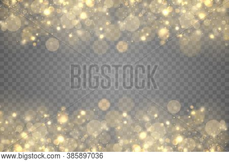 Sparkling Golden Magic Dust Particles Bokeh On Transparent Background, Christmas Sparkle Light Effec