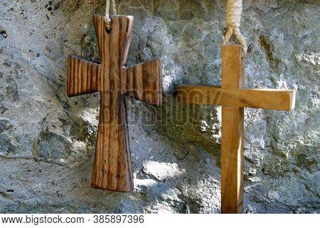 ZAGREB, CROATIA - AUGUST 04, 2013: Crosses, parish church of the Holy Trinity in Zagreb, Croatia