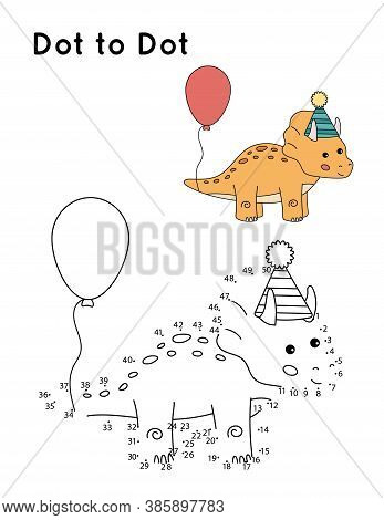 Dot To Dot Game For Preschool Kids. Cute Cartoon Dinosaur Triceratops With Balloon. Coloring Page Fo