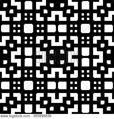 Seamless Chinese Window Tracery Pattern. Repeated Stylized Black Squares And Crossed Lines On White