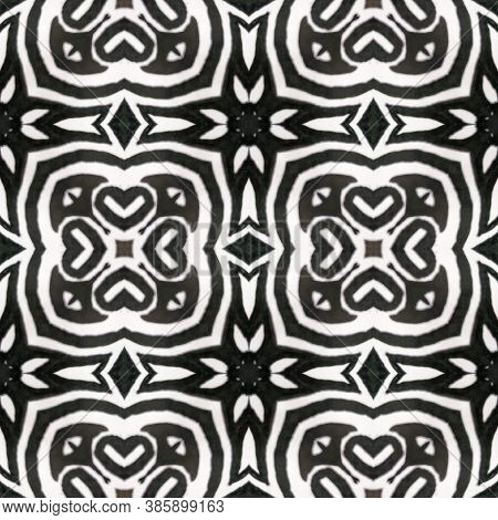 Geometric Rug Pattern. Black And White  Monochrome Seamless Texture. Abstract Ikat Print. Seamless T