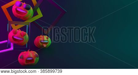 Happy Halloween Decoration Background With Cute Cartoon Pumpkin And Abstract Frame On Black Blue Pur