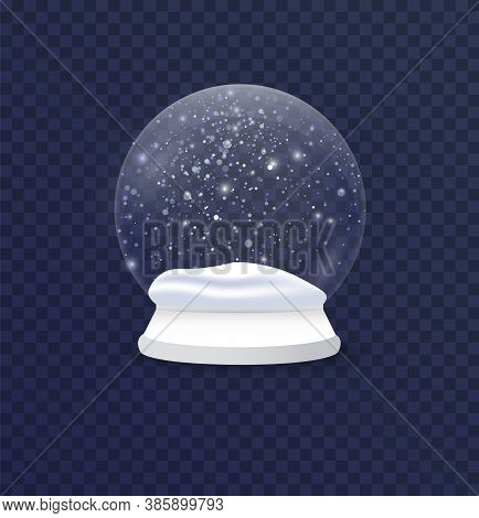 Christmas And New Year Realistic Snow Ball, Xmas Magical Sphere. Winter In A Glass Ball, A Crystal D