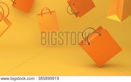 Happy Halloween Sale Or Autumn Decoration Background With Shopping Bag On The Yellow Background, Cop