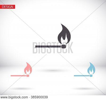 Match Stick Burns Vector Icon. Burning Matchstick Sign.vector Icon Fire Symbol. Vector Icon Download
