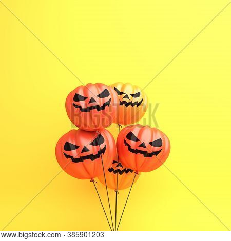 Happy Halloween Decoration Background With Pumpkin Balloons On Orange Background, Copy Space Text Ar