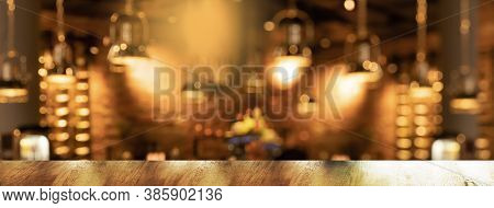 Luxury Golden Lamp With Blur Bar Or Pub Party At Night Orange Light City Interior Banner Background