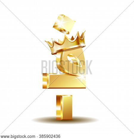 Afghan Afghani Currency Symbol With Golden Crown, Vector Illustration