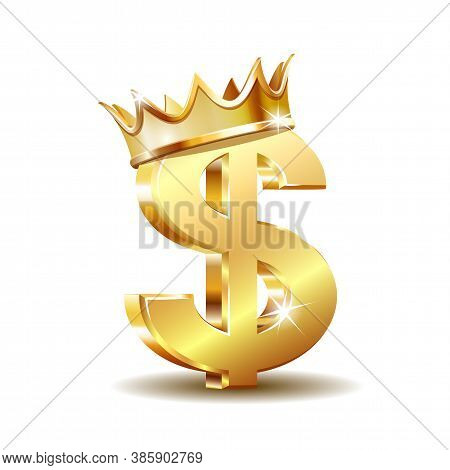 Golden Dollar Symbol With Golden Crown Isolated On White Background.