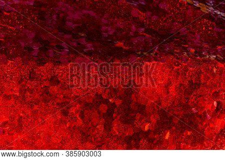Red Sequins Pattern. Sparkling Sequins Background. Red Sequin Fabric For Background. Rectangular Red