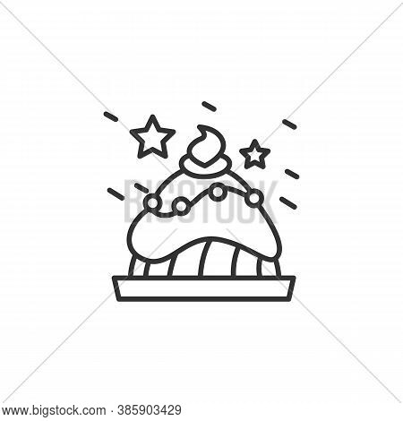 Christmas Cake Line Icon. Dessert. New Year Celebration. Celebrating Moments, Details And Festive De
