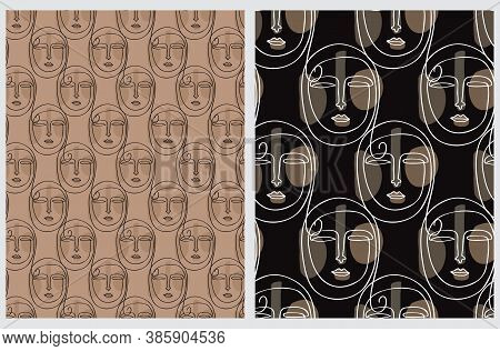 Seamless Vector Patterns With Arab Woman Face Isolated On A Black And Brown Background. Line Art Rep