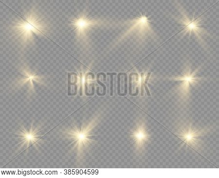 The Star Burst With Brilliance, Glow Bright Star, Yellow Glowing Light Burst On A Transparent Backgr