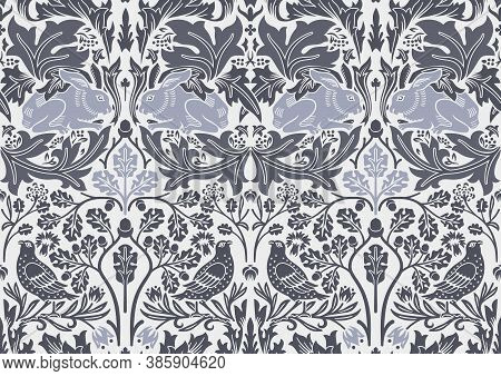 Hand Drawn Seamless Pattern Ornament With Hare And Bird In Foliage. Middle Ages William Morris Style