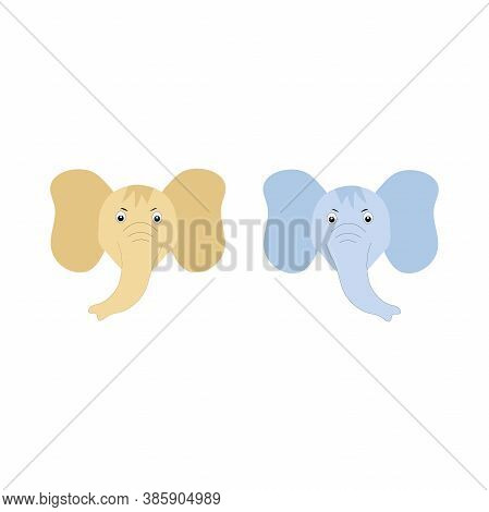 The Head Of A Cartoon Elephant. Blue And Beige Baby Elephants.