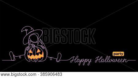 Halloween Black Night Web Banner For Party Notice With Scary Pumpkin And Little Witch. One Continuou