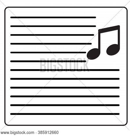 Song Lyrics On White Background. Flat Style. Note Sign.