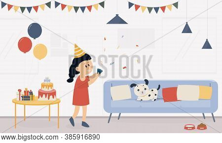 Cartoon A Girl Concept Birthday Celebrating A Living Room Party With A Dog, A Dog Sitting On A Sofa.