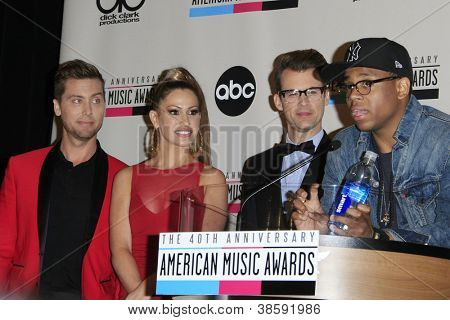 LOS ANGELES - OCT 9: Lance Bass, Brad Goreski, Kimberly Cole, Tristan Wilds at the 40th Anniversary American Music Awards nominations press conference on October 9, 2012 in Los Angeles, California