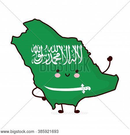 Cute Happy Funny Saudi Arabia Map And Flag Character. Vector Flat Line Cartoon Kawaii Character Illu