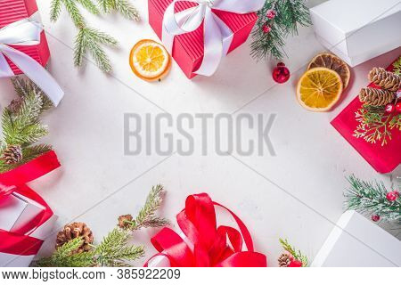 Christmas And New Year Greeting Card Background. Christmas Red And White Gift Boxes With Fir Tree Br