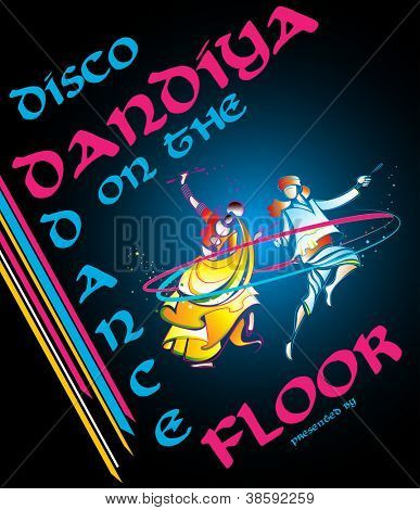 illustration of couple playing garba in disco dandiya poster poster