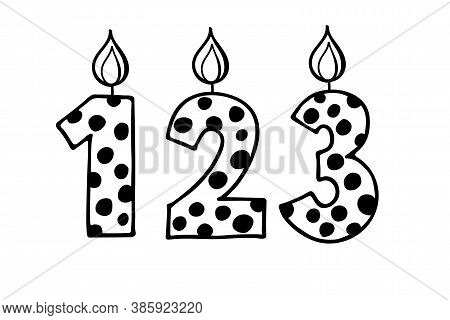 Cute Number1 2 3. Hand Drown Vector Figures With Polka Dot. Design For Baby Birthday, Baby Party Dec