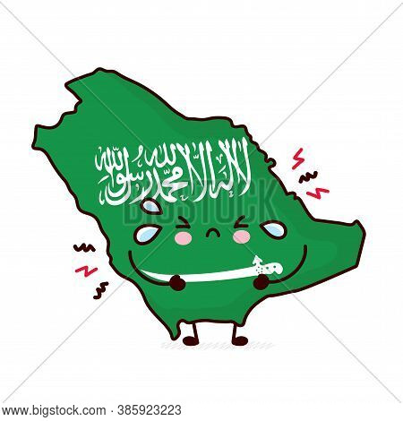 Cute Sad Funny Saudi Arabia Map And Flag Character. Vector Flat Line Cartoon Kawaii Character Illust