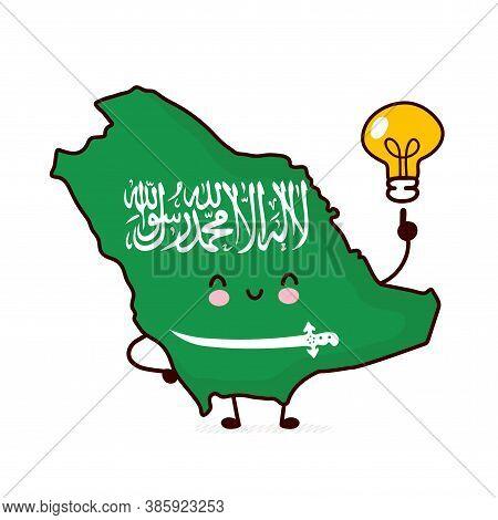 Cute Happy Funny Saudi Arabia Map And Flag Character With Idea Light Bulb. Vector Flat Line Cartoon