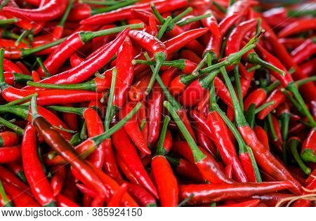 Red Chili Peppers, Closeup From Top View