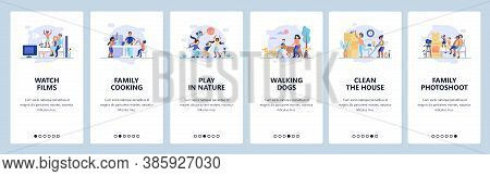 Family Time. Parents Spending Time With Kids. Mobile App Onboarding Screens, Vector Website Banner T