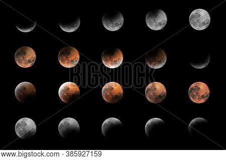 Lunar Eclipse Phases, Blood Moon, Composite Lunar Eclipse