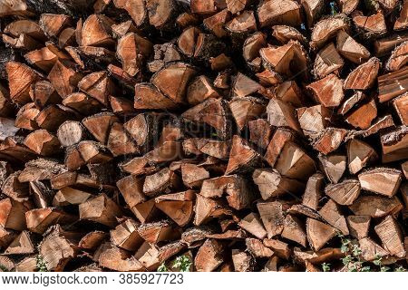 Woodpile Of Firewood To Heat The House In Cold Times