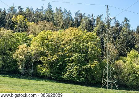Power Pylon On The Green Field Near The Forest