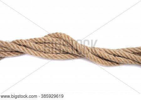 Strong Rope Knot On White Background Isolated