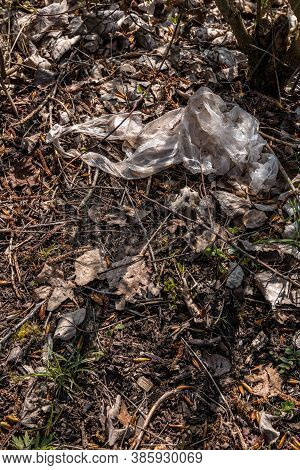 Plastic Waste Thrown Away In The Middle Of Nature