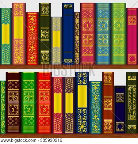 Books On The Bookshelf Seamless Multi-colored Pattern.