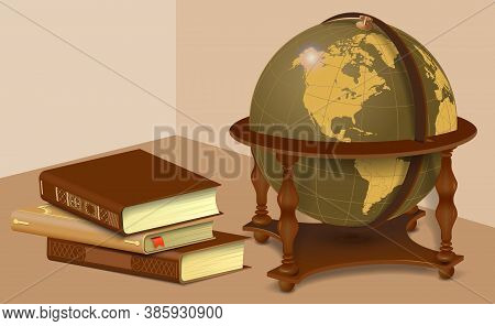 Retro Globe And Stack Of Books. Learning And Travel Concept In Vintage Style Isolated On White Backg