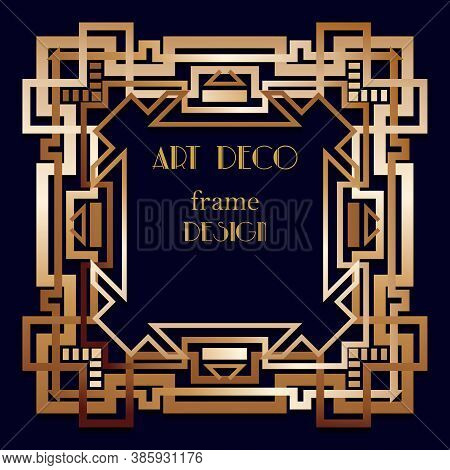 Retro Pattern For Frame Vintage Party Gatsby Style. Art Deco Geometric Gold Background.
