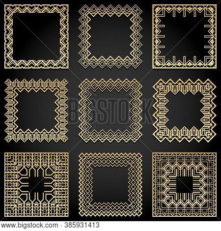 Art Deco Frames Collection. Trendy Gatsby Style Design Elements. Retro Geometric Lines Isolated On B