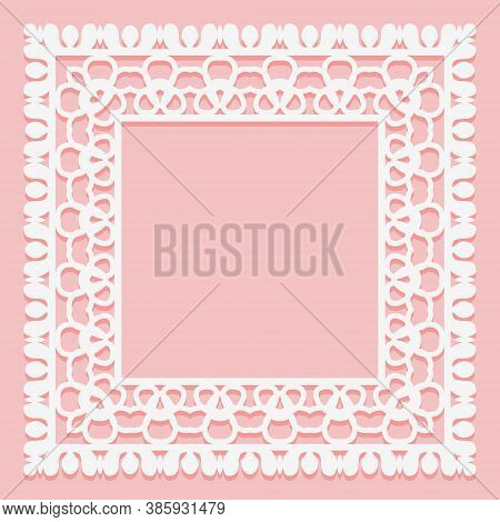White Lace Frame Of Square Shapes. Openwork Vintage Elements Isolated On A Pink Background.