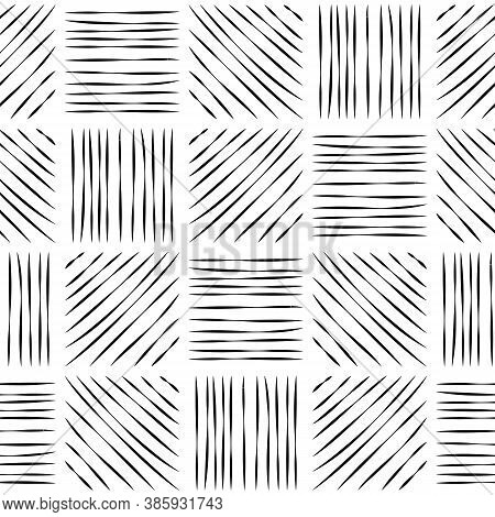 Seamless Pattern Of Hatched Squares. Black Lines On A White Background.