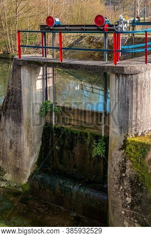 Controlled Weir By The River To Dam The Water